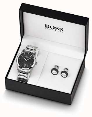 Boss | мужские | черные часы и запонка | 1570091