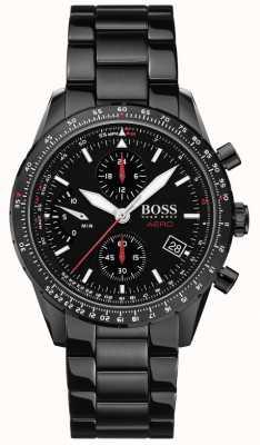 BOSS | аэро | черный хронограф | черный браслет часы | 1513771