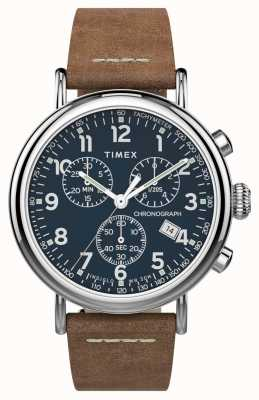 Timex | стандартный хроно 41мм | коричневый кожаный ремешок | синий циферблат | TW2T68900