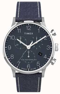 Timex | Waterbury Classic Chrono 40 мм | синяя кожа | синий циферблат | TW2T71300