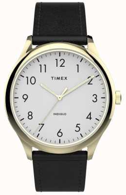 Timex | легкий считыватель 40мм | черный кожаный ремешок | белый циферблат | TW2T71700
