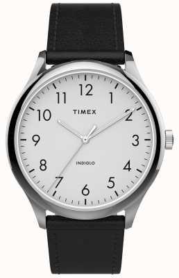 Timex | легкий считыватель 40мм | черный кожаный ремешок | белый циферблат | TW2T71800