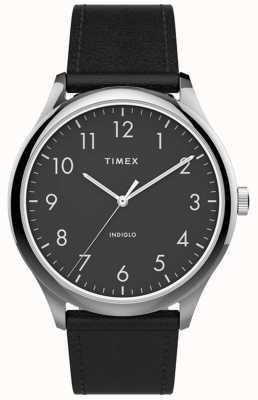 Timex | легкий считыватель 40мм | черный кожаный ремешок | черный циферблат | TW2T71900