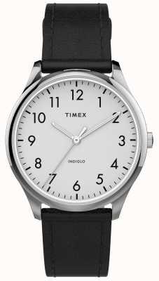 Timex | легко читатель 32 мм | черный кожаный ремешок | белый циферблат | TW2T72100