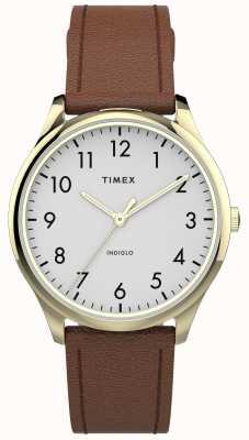 Timex | легко читатель 32 мм | коричневый кожаный ремешок | белый циферблат | TW2T72300