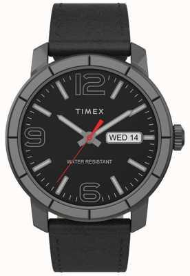 Timex | мужской мод 44мм | черный кожаный ремешок | черный циферблат | TW2T72600