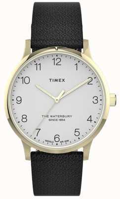 Timex | женский Уотербери | черный кожаный ремешок | белый циферблат | TW2T75200
