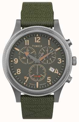Timex | союзник lt хроно 40мм | зеленый ремешок из ткани | зеленый циферблат | TW2T75800