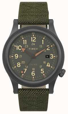 Timex | союзник лт 40мм | серый корпус | зеленый ремешок из ткани | TW2T76000
