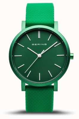 Bering   истинное сияние   зеленый резиновый ремешок   зеленый циферблат   16934-899