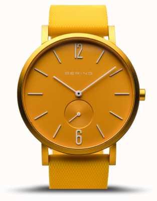 Bering   истинное сияние   желтый резиновый ремешок   желтый циферблат   16940-699