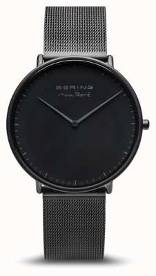 Bering | макс рене | мужской мат черный | черный стальной браслет | 15738-123