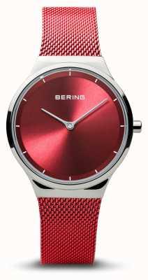 Bering | классический | женское полированное серебро | браслет из красной сетки | 12131-303