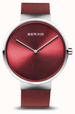 Bering | классический | полированное / матовое серебро | браслет из красной сетки | 14539-303