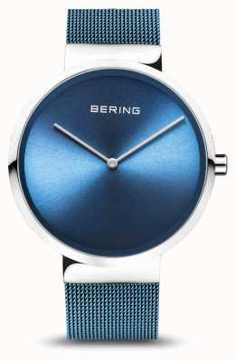 Bering | классический | полированное / матовое серебро | синий сетчатый браслет | 14539-308