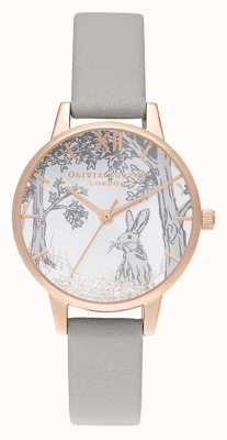 Olivia Burton | женская | снежный шар зимний кролик | серый кожаный ремешок OB16SG06