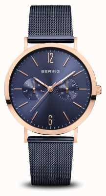 Bering | классический | полированное розовое золото | синий сетчатый браслет | 14236-367