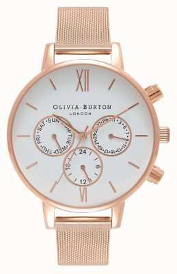 Olivia Burton Женские | белый мульти циферблат | роза пвд сетка OB16CG86
