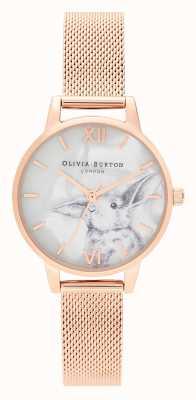 Olivia Burton | женская | иллюстрированные животные | кролик | сетка из розового золота | OB16WL85