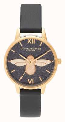 Olivia Burton | женская | блеск циферблат | 3d пчела | черный кожаный ремешок | OB16GD48