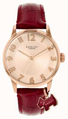 Radley Ливерпуль-стрит | бордовый кожаный ремешок | циферблат из розового золота | RY2866