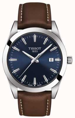 Tissot Джентльмен | коричневый кожаный ремешок | синий циферблат | T1274101604100