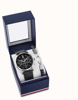 Tommy Hilfiger Подарочные наборы из черных кожаных часов и браслета 2770058