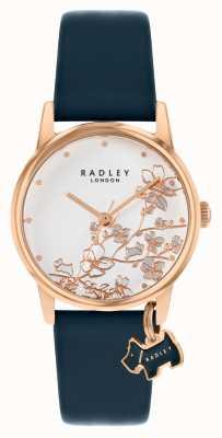 Radley Ботанический цветочный | темно-синий кожаный ремешок | серебряный цветочный циферблат | RY2880