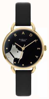 Radley Лесная улица | черный кожаный ремешок | черный циферблат мотив собаки | RY2876