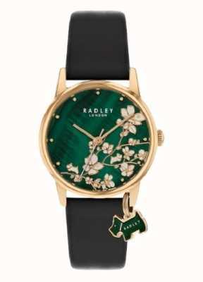 Radley Ботанический цветочный | темно-синий кожаный ремешок | зеленый цветочный циферблат | RY2882