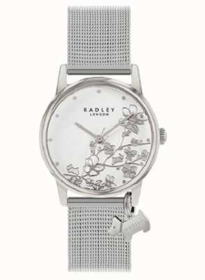 Radley Ботанический цветочный | браслет из серебряной сетки | белый цветочный циферблат RY4401