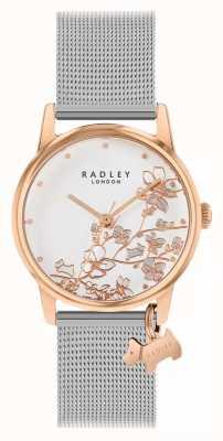 Radley Ботанический цветочный | браслет из серебряной сетки | белый цветочный циферблат RY4399
