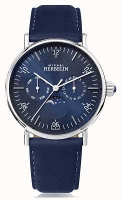Michel Herbelin Montre inspiration Moonphase кожаный ремешок из нержавеющей стали синего цвета 12747/AP15BL