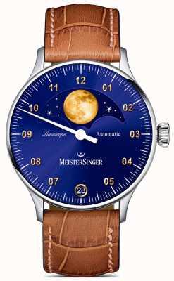 MeisterSinger Лунаскоп | синий циферблат | коричневый кожаный ремешок LS908G