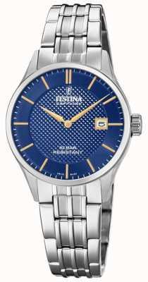 Festina | женская швейцарская | браслет из нержавеющей стали | синий циферблат F20006/3
