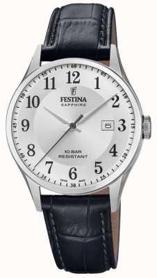 Festina | мужской швейцарский | черный кожаный ремешок | серебряный циферблат | F20007/1