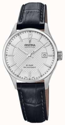 Festina | женская швейцарская | черный кожаный ремешок | серебряный циферблат | F20009/1