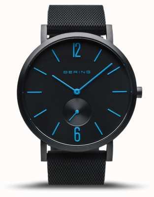 Bering | истинное сияние | черный резиновый ремешок | черный циферблат | синие руки 16940-499