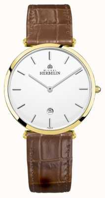 Michel Herbelin | мужской эпсилон | коричневый кожаный ремешок | серебряный циферблат | 19406/P11GO