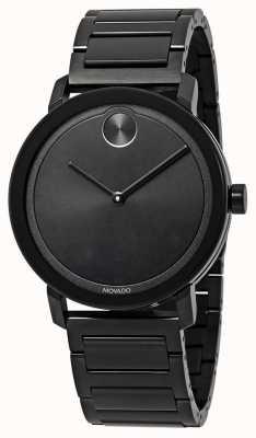 Movado | жирный | черный браслет из нержавеющей стали | черный циферблат | 3600538