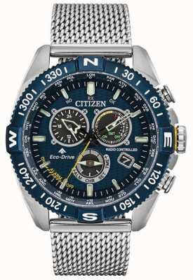 Citizen Мужские часы navihawk at promaster с синим циферблатом из нержавеющей стали CB5846-52L