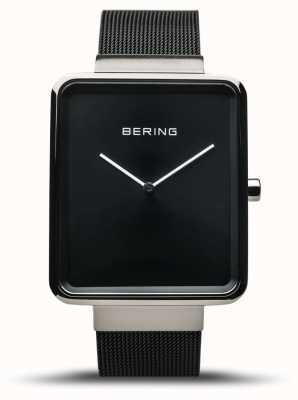 Bering | мужская классика | черный сетчатый браслет | черный циферблат | 14533-102