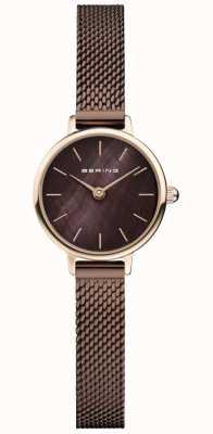 Bering | женская классика | коричневый браслет-сетка | перламутр 11022-265