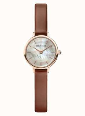 Bering | женская классика | коричневый кожаный ремешок | перламутр | 11022-564