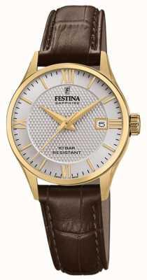 Festina | женская швейцарская | коричневый кожаный ремешок | серебряный циферблат | F20011/2