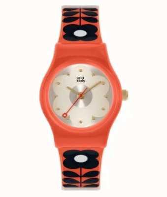 Orla Kiely Малыш Бобби | красный пластиковый корпус | ремешок с красным цветочным принтом OK2326