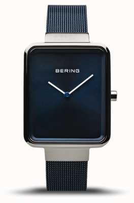Bering Классический | полированное / матовое серебро | синий сетчатый ремень | 14528-307