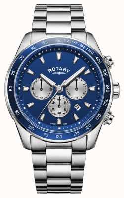 Rotary   хенли мужские   синий циферблат хронографа   нержавеющая сталь   GB05109/05