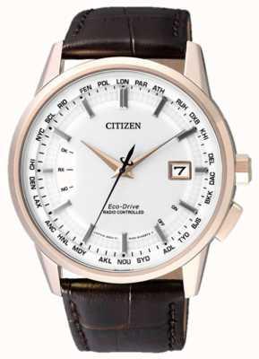 Citizen Радиоуправляемый по вечному | коричневый ремешок | белый циферблат CB0153-21A