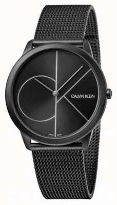 Calvin Klein | минимальный | черный стальной браслет-сетка | черный циферблат K3M5145X